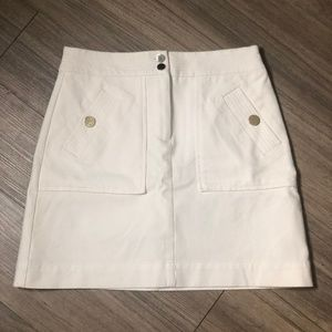LOFT White Jean Skirt with Silver